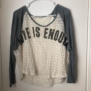 "Bethany Mota ""Love Is Enough"" long sleeve T-shirt"